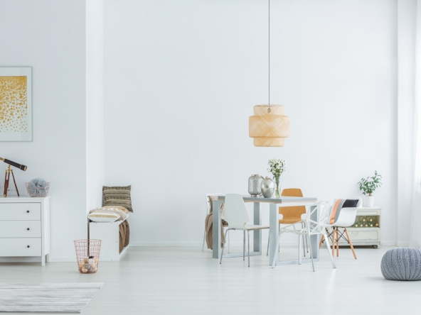 White loft with dining table